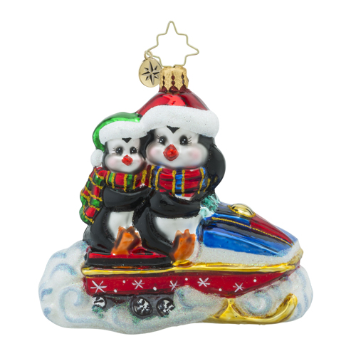 RADKO 1018378 CHILLY RAMBLE - PENGUINS ON SNOWMOBILE ORNAMENT - NEW 2016 (16 - 10)