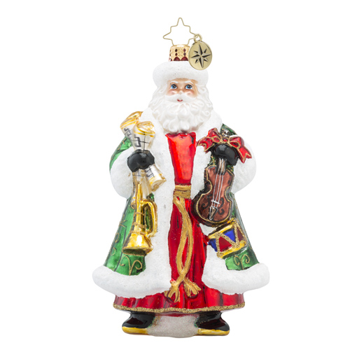 RADKO 1018390 CONDUCTOR CLAUS - SANTA WITH A VIOLIN AND HORN ORNAMENT - NEW 2016 (16 - 10)