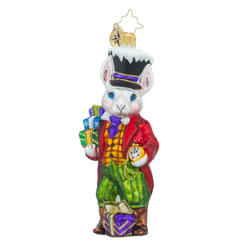 RADKO 1018415 SIR FLUFFY - RABBIT WITH TOP HAT AND POCKET WATCH AND GIFTS ORNAMENT - NEW 2016 (16 - 11)