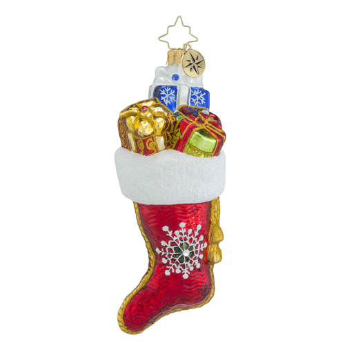 RADKO 1018425 STOCKED FOR CHRISTMAS - JEWELED STOCKING ORNAMENT - NEW 2016 (16 - 11)