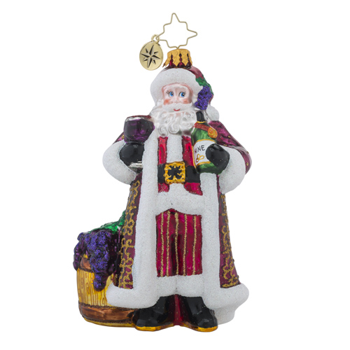 RADKO 1018440 CHEERS TO YOU RED - RED WINE DRINKING SANTA ORNAMENT - NEW 2016 (16 - 12)