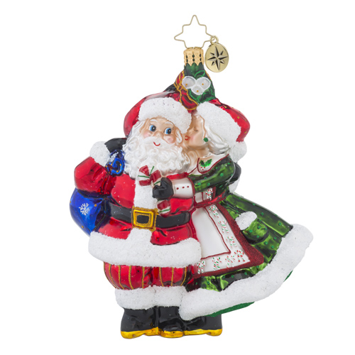 RADKO 1018452 MR. & MRS. MISTLETOE - MRS CLAUS KISSING SANTA ORNAMENT -  NEW 2016 (16 - 12)