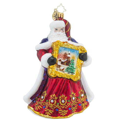 RADKO 1018468 PERFECT PORTRAIT - JEWELED SANTA HOLDING PAINTING ORNAMENT - NEW 2016 (16 - 13)