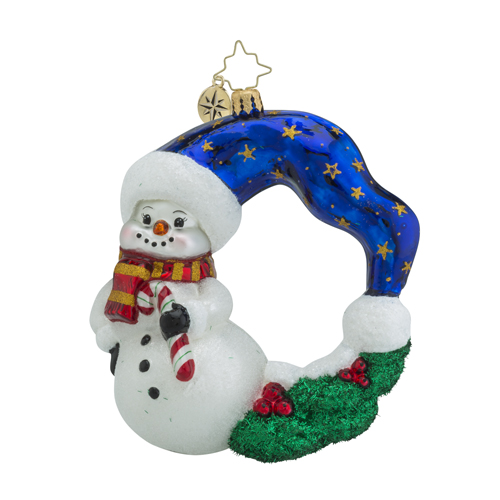 RADKO 1018471 COOL CHAPLET - SNOWMAN WREATH ORNAMENT - NEW 2016 (16 - 13)