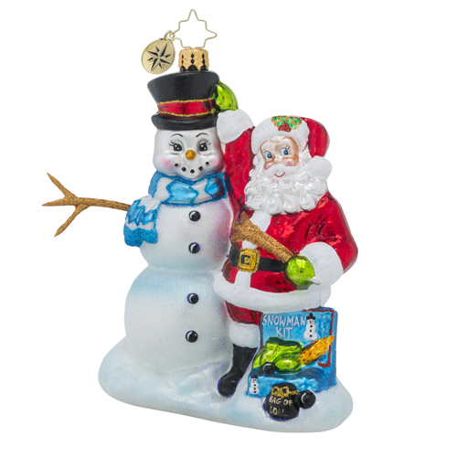 RADKO 1018490 MAKIN' FRIENDS - SANTA AND SNOWMAN ORNAMENT - NEW 2016 (16 - 13)