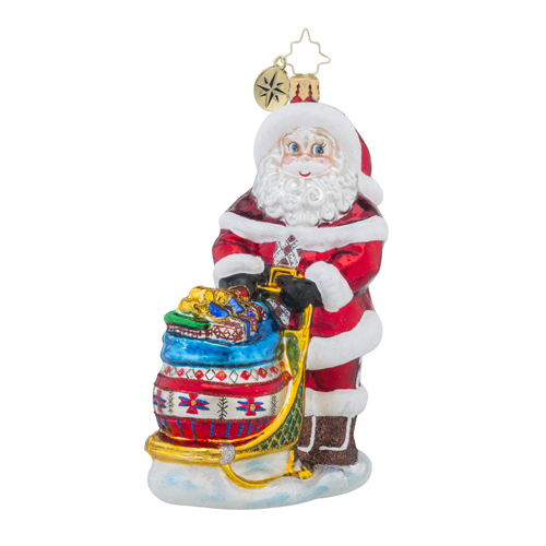 RADKO 1018495 HEADED MY WAY - SANTA WITH SLED FULL OF GIFTS ORNAMENT - NEW 2016 (16 - 13)