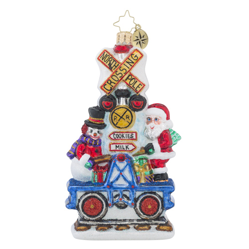 RADKO 1018497 IT TAKES TWO - SANTA AND SNOWMAN ON RAILROAD CAR ORNAMENT - NEW 2016 (16 - 14)