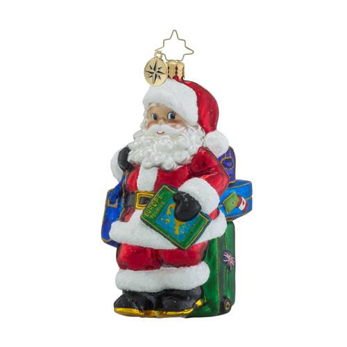 RADKO 1018498 TRIP TIME - SANTA WITH MAP AND SUITCASES ORNAMENT - NEW 2016 (16 - 14)