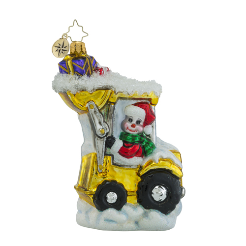 RADKO 1018507 LOAD 'EM UP - SANTA AND SNOWMAN DRIVING BOBCAT ORNAMENT - NEW 2016 (16 - 14)