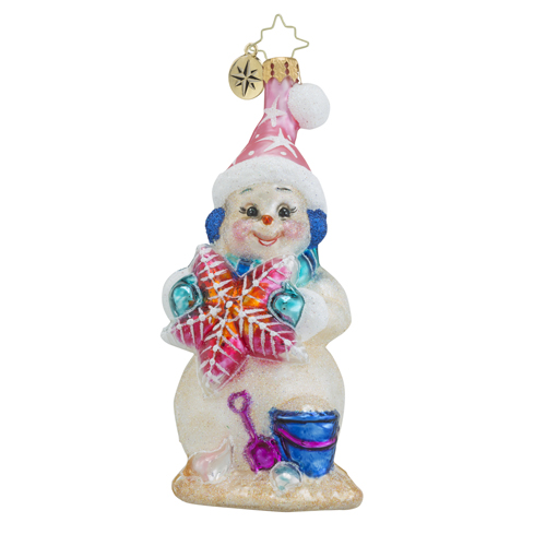 RADKO 1018512 SEA SHORE SANDY - SUMMER - BEACH - SAND SNOWMAN WITH STARFISH ORNAMENT - NEW 2016 (16 - 14)