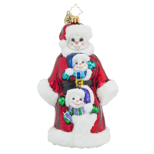RADKO 1018514 TRIPLE DELIGHT - 3 SNOWMEN ORNAMENT  - NEW 2016 (16 - 14)