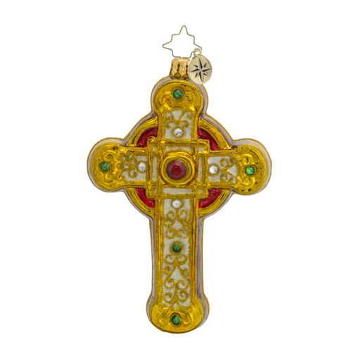 RADKO 1018560 GOLDEN CRUCIFORM - JEWELED GOLD CROSS ORNAMENT - NEW 2016 (16 - 15)