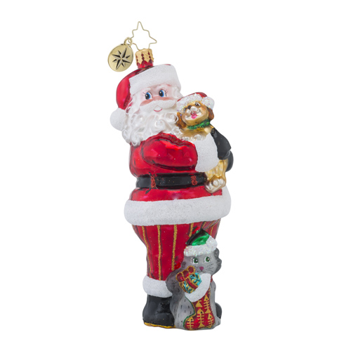 RADKO 1018569 CHRISTMAS TAIL - ANIMAL RELATED CHARITY - SANTA WITH DOG AND CAT ORNAMENT - NEW 2016 (16-1)