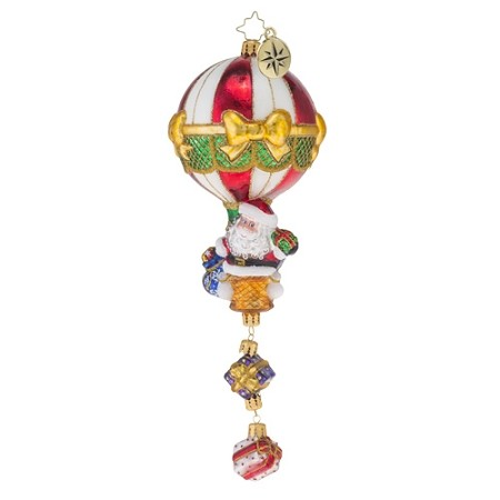 RADKO 1018573 AIR DROP! - LIMITED EDITION - SANTA IN HOT AIR BALLOON WITH PRESENTS DROPS ORNAMENT - NEW 2016 - (16-2)