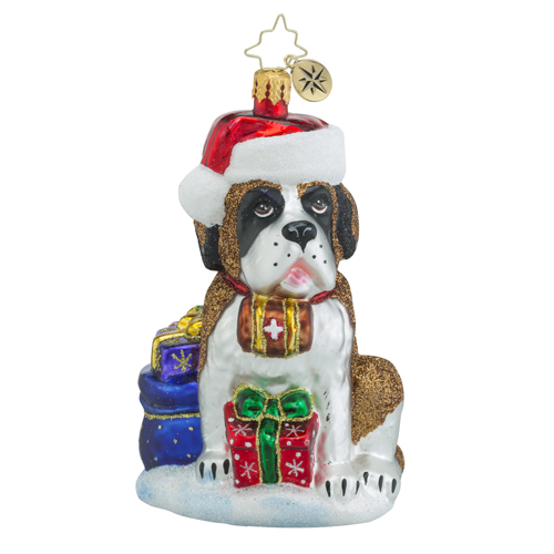 RADKO 1018595 GENTLE GIANT - DOG - SAINT BERNARD WITH BRANDY BARRELL AND GIFTS - NEW 2016 (16 - 16)