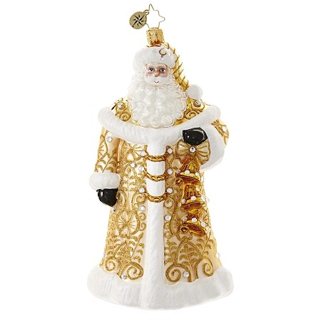 RADKO 1018615 WINTER  ELEGANCE - JEWELED GOLD AND WHITE SANTA HOLDING 3 BELLS ORNAMENT - NEW 2017 (17-3)
