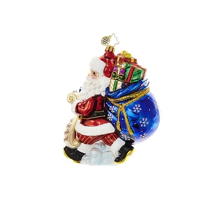 RADKO 1018621 PICKING UP PRESENTS - SANTA WITH LIST AND SACK OF GIFTS ORNAMENT - NEW 2017 (17-3)