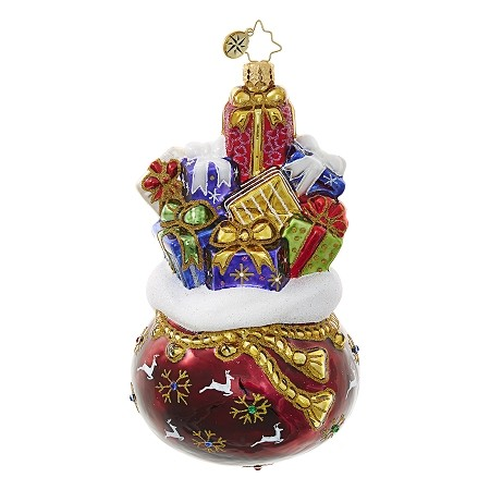 RADKO 1018666 THE PERFECT PRIZE! - BAG FULL OF GIFTS ORNAMENT - NEW 2017 (17-6)