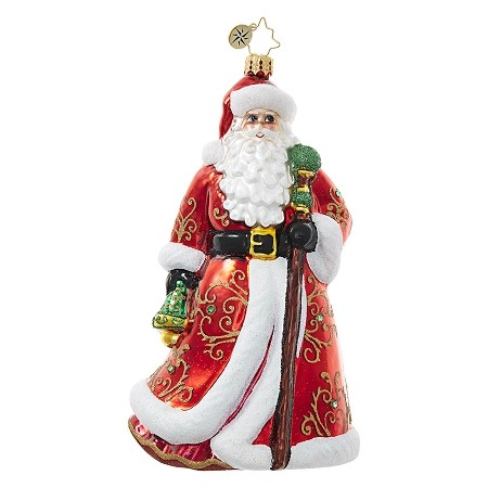 RADKO 1018669 LUMINARY LOVELY - JEWELED SANTA WITH ORNATE COAT AND STAFF ORNAMENT - NEW 2017 (17-6)