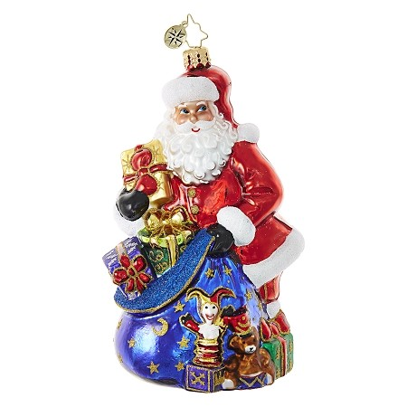RADKO 1018671 SANTA'S BAG OF TREASURES - SANTA WITH BAG OF GIFTS ORNAMENT - NEW 2017 (17-6)