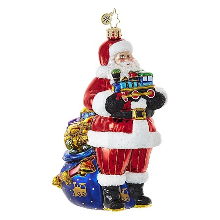 RADKO 1018674 CHOO CHOO SANTA - SANTA HOLDING TRAIN WITH BAG OF GIFTS ORNAMENT - NEW 2017 (17-6)