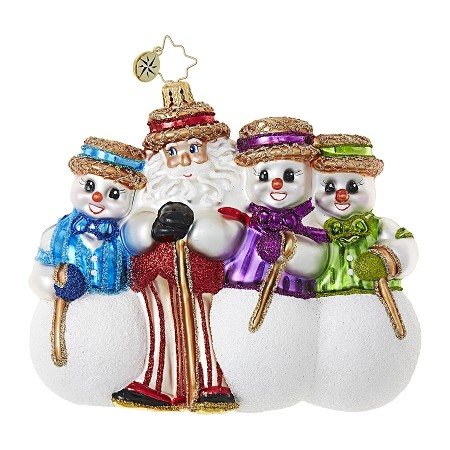 RADKO 1018680 SANTA'S BARBERSHOP QUARTET - SANTA AND 3 SNOWMAN ORNAMENT - NEW 2017 (17-6)