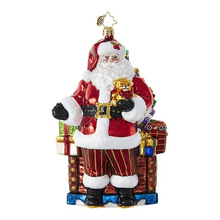 RADKO 1018692 SANTA'S LOOT - SANTA STANDING IN FRONT OF A CHEST FULL OF GIFTS ORNAMENT - NEW 2017 (17-7)
