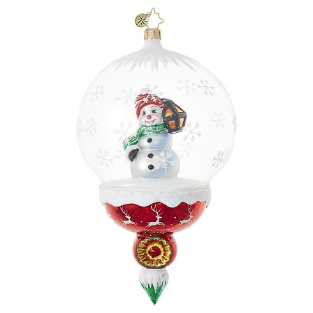 RADKO 1018695 A LANTERN LIGHTS THE WAY - SNOWMAN IN GLASS DOME ORNAMENT - NEW 2017 (17-7)