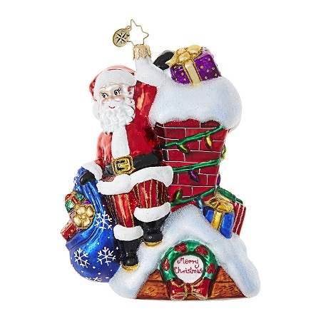 RADKO 1018708 SANTA'S FAVORITE HANGOUT - SANTA WITH BAG OF GIFTS ON ROOF BY THE CHIMNEY ORNAMENT - NEW 2017 (17-7)