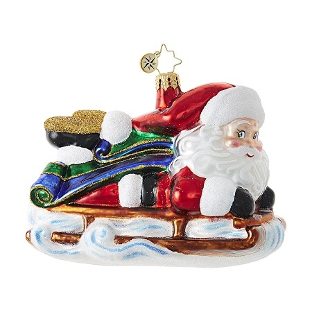 RADKO 1018713 - SLEDDING SANTA  - SANTA RIDING ON A SLEIGH ORNAMENT - NEW 2017 (17-7)