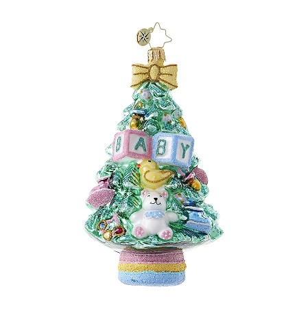 RADKO 1018714 BABY, WHAT A TREE  - TREE WITH TEDDY BEAR AND BABY BLOCKS ORNAMENT - NEW 2017 (17-7)