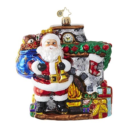 RADKO 1018721 HEARTH AND HOME - SANTA WITH BAG IN FRONT OF FIREPLACE ORNAMENT - NEW 2017 (17-7)