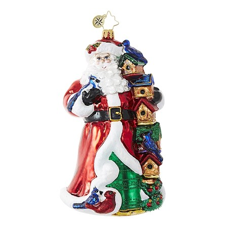 RADKO 1018730 BIRDY CHRISTMAS CONDOS - SANTA WITH STACK OF BIRD HOUSES, CARDINAL AND BLUE JAY ORNAMENT - NEW 2017 (17-8)