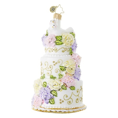 RADKO 1018736 NEWLYWED SWEETS - WEDDING CAKE AND DOVES ORNAMENT - NEW 2017 (17-8)