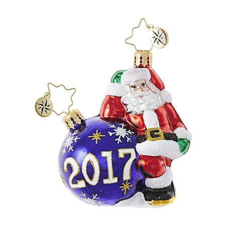 RADKO 1018750 HAVING A BALL GEM - DATED 2017 - SANTA WITH ORNAMENT ORNAMENT - NEW 2017 (25)