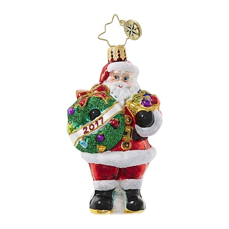 RADKO 1018751 HOLLY JOLLY YEAR GEM - DATED 2017 - SANTA WITH WREATH ORNAMENT - NEW 2017 (25)