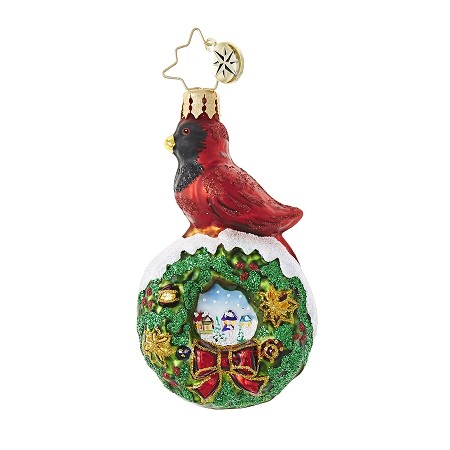 RADKO 1018762 RED VELVET GEM - CARDINAL ON WREATH ORNAMENT - NEW 2017 (25-1)