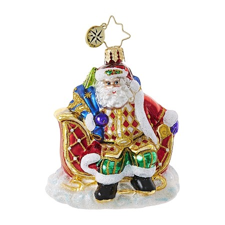 RADKO 1018768 SLEIGH VALET GEM - SANTA IN SLEIGH ORNAMENT - NEW 2017 (25-1)