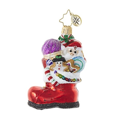 RADKO 1018772 SUGAR BOOT STACK GEM - BOOT FULL OF SNACKS ORNAMENT - NEW 2017 (25-1)