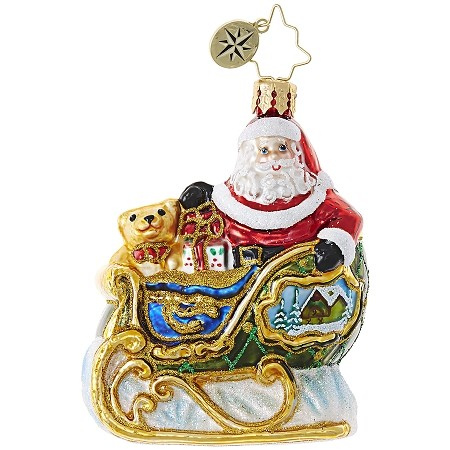 RADKO 1018776 VILLAGE SLEIGH RIDE GEM - SANTA IN SLEIGH ORNAMENT - NEW 2017 (25-1)