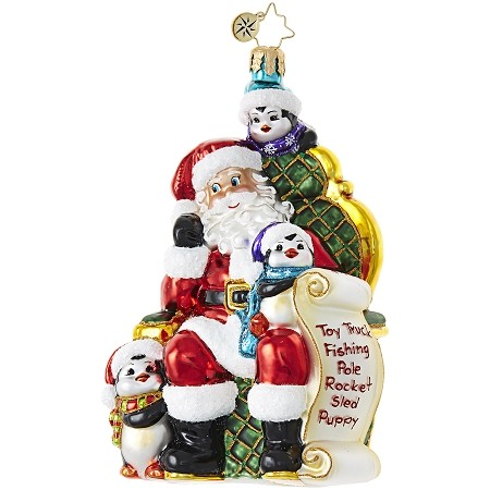 RADKO 1018780 A COOL FAN BASE - SANTA AND PENGUINS WITH TOY LIST ORNAMENT - NEW 2017 (17-8)