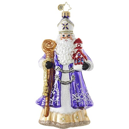 RADKO 1018811 SACRED CLAUS - RELIGIOUS - BISHOP SANTA WITH STAFF ORNAMENT - NEW 2017 (17-9)