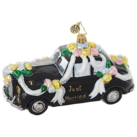 RADKO 1018820 HEADING TO THE CHAPEL - WEDDING - JUST MARRIED - NOT DATED - BLACK LIMO ORNAMENT - NEW 2017 (17-9)
