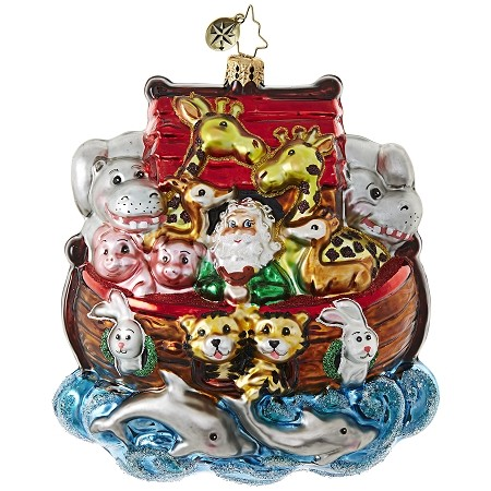 RADKO 1018822 EVERYONE ON! - SANTA AND ANIMALS ON NOAH'S ARK ORNAMENT - NEW 2017 (17-9)