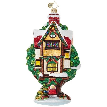 RADKO 1018823 TREE LIMB LUXURY - SNOW COVERED TREE HOUSE ORNAMENT - NEW 2017 (17-9)
