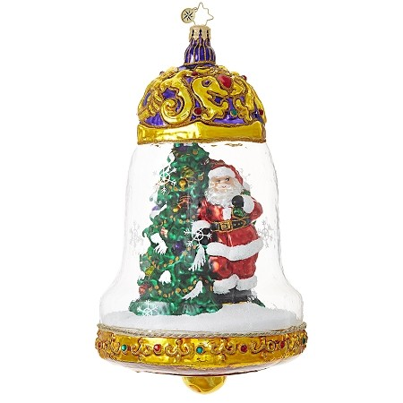 RADKO 1018824 CLEARLY BELLS ARE RINGING - SANTA AND TREE IN GLASS BELL ORNAMENT - NEW 2017 (17-9)