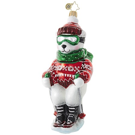 RADKO 1018839 POLAR EXPRESS - SNOW SKIING POLAR BEAR ORNAMENT - NEW 2017 (17-10)