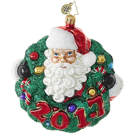 RADKO 1018843 SANTA'S STELLAR WREATH! - DATED 2017 - SANTA WITH WREATH ORNAMENT - NEW 2017 (17-2)