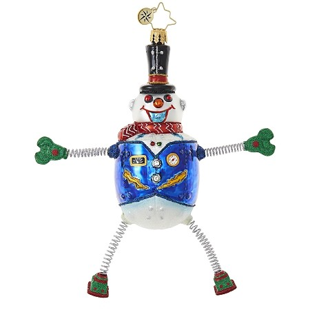 RADKO 1018878 SNOW BOT BOOGIE - SNOWMAN ROBOT ORNAMENT - NEW 2017 (17-11)