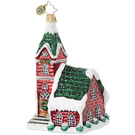 RADKO 1018913 CRIMSON STEEPLE - RELIGIOUS - RED CHURCH WITH GREEN ROOF ORNAMENT - NEW 2017 (17-12)